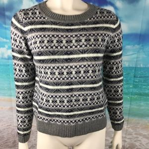 J Crew Fair Isle Sweater Gray Striped XS Women's